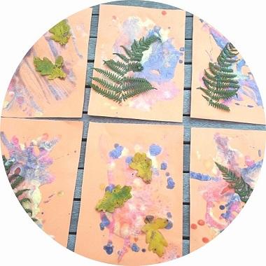 l'automne en puff paint pour les enfants