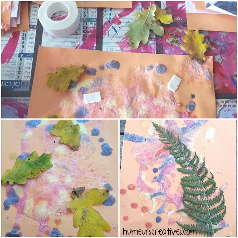 collage de feuilles d'arbre sur la peinture gonflante