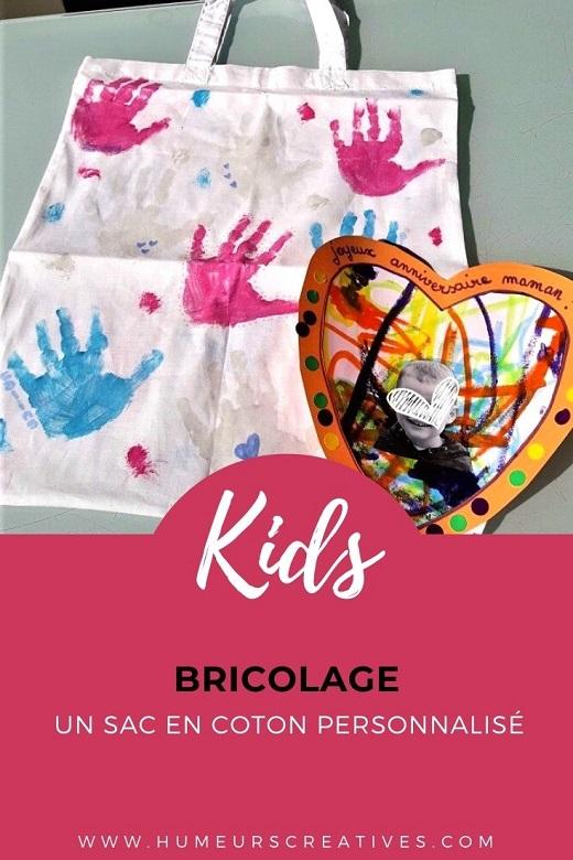 Cadeau fait maison pour la fête des mamans : un sac en coton personnalisé par les enfants