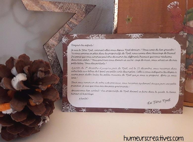 la carte du pere noel expliquant les missions de la boite aux lettres de l'avent