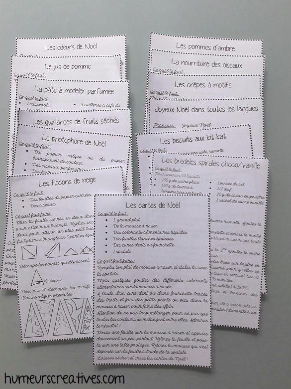 fiches descriptives des activités pour la boite aux lettres de l'avent sur l'esprit de noel