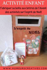 DIY la boite aux lettres de l'avent : esprit de noel - une activité créative par jour a faire avec les enfants