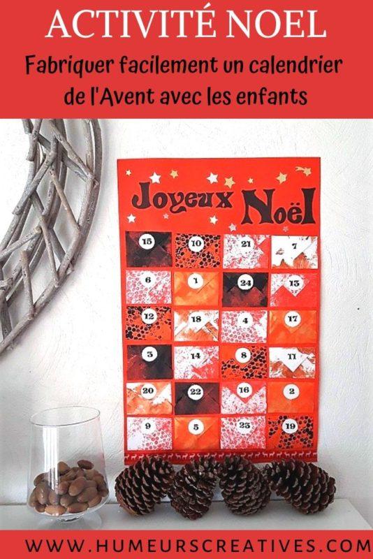 Bricolage calendrier de l'avent sous forme d'enveloppes avec les enfants