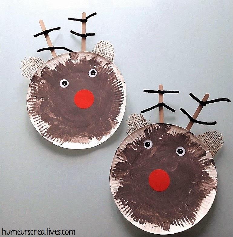 Nos rennes réalisés en assiette en carton par les enfants