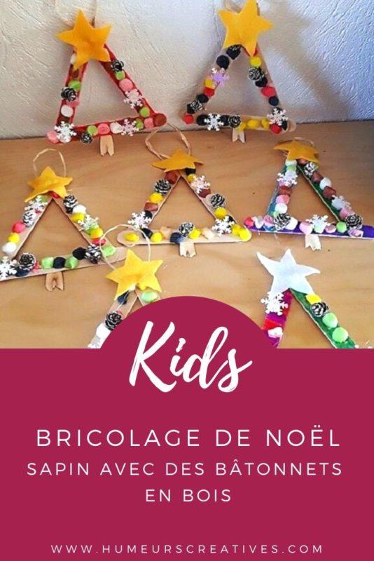 Bricolage de Noël pour enfants : fabriquer un sapin avec des batonnets en bois