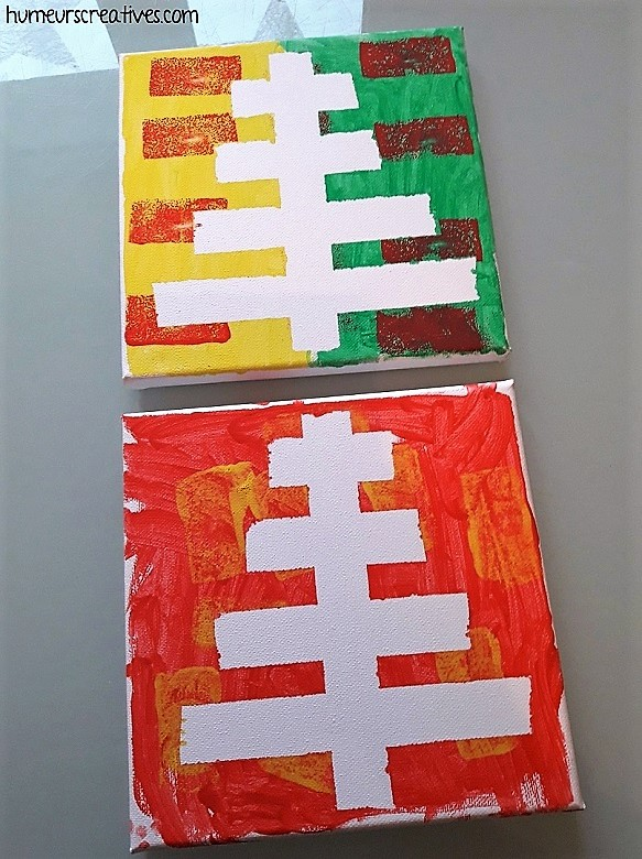 sapins de noel sur toile réalisés par les enfants