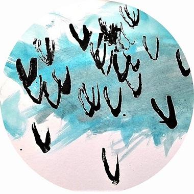 Oiseaux dans le ciel, peinture pour enfants