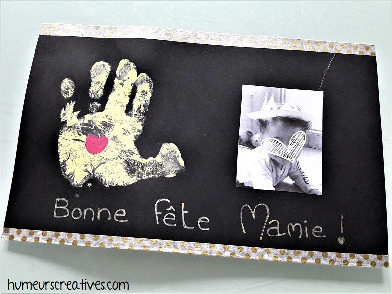 carte pour Mamie réalisée avec bébé