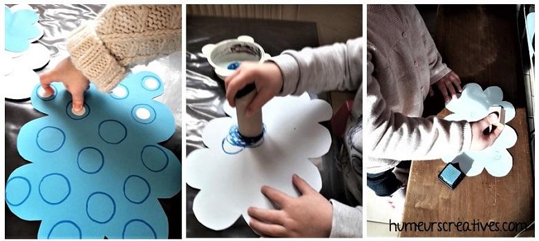 Décorer les nuages avec des gommettes ou de la peinture