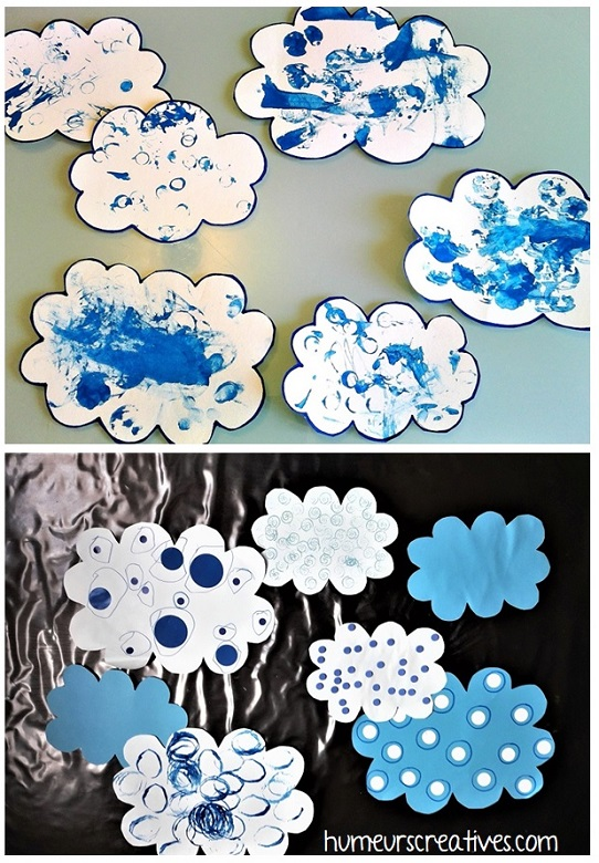 Nuages bleus décorés par les enfants