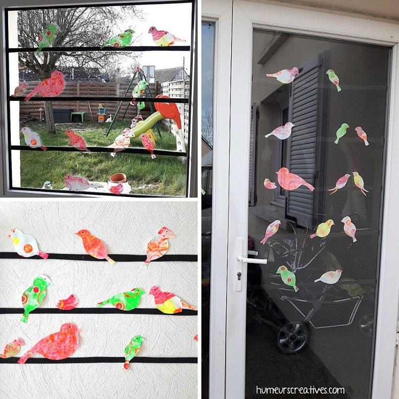 décoration d'oiseaux suspendus sur un fil