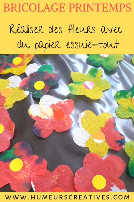 bricolage de printemps : dessiner sur du papier essuie tout avec de l'encre pour réaliser de jolies fleurs