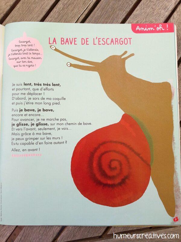 page sur les escargot dans un livre Pomme d'Api