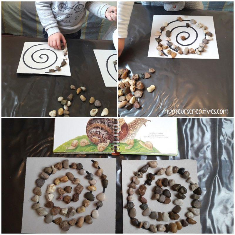 dessiner des spirales avec des cailloux en suivant les lignes