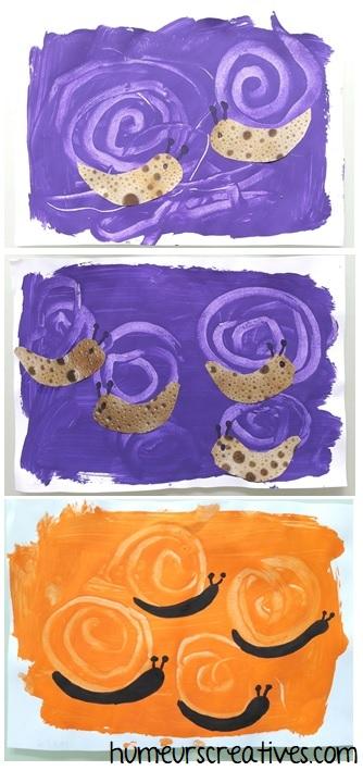 nos escargots en peinture