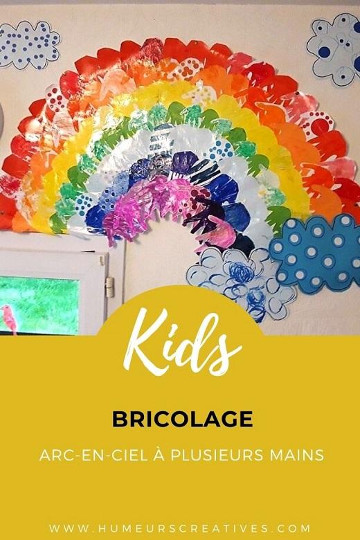 Activité manuelle pour enfants : réaliser un arc-en-ciel à plusieurs mains