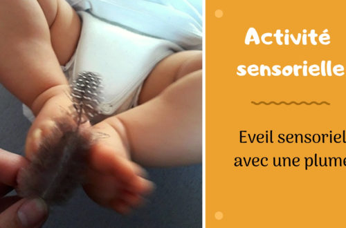 activité sensorielle pour bébé : éveil du corps avec une plume