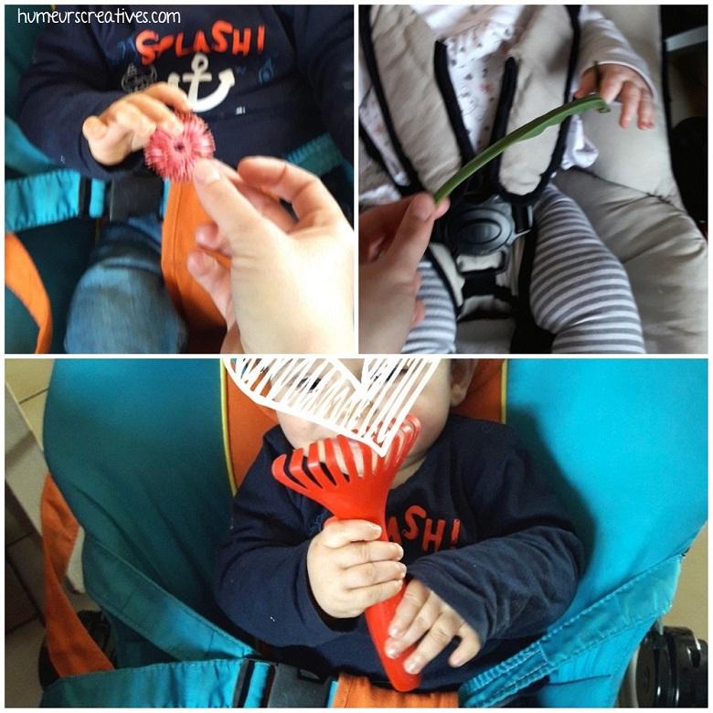 manipulation des objets du bac printanier par les bébés