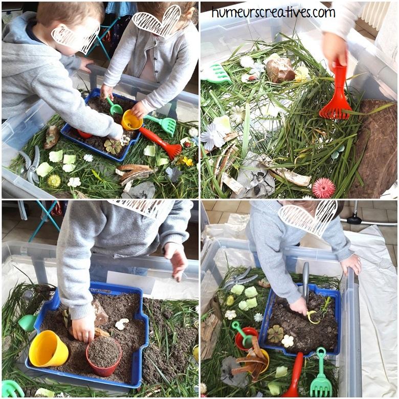 exploration et manipulation du bac sensoriel de printemps