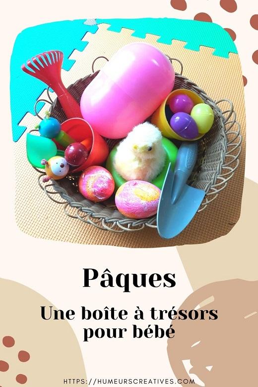 Activité sensorielle bébé : panier à trésors sur Pâques