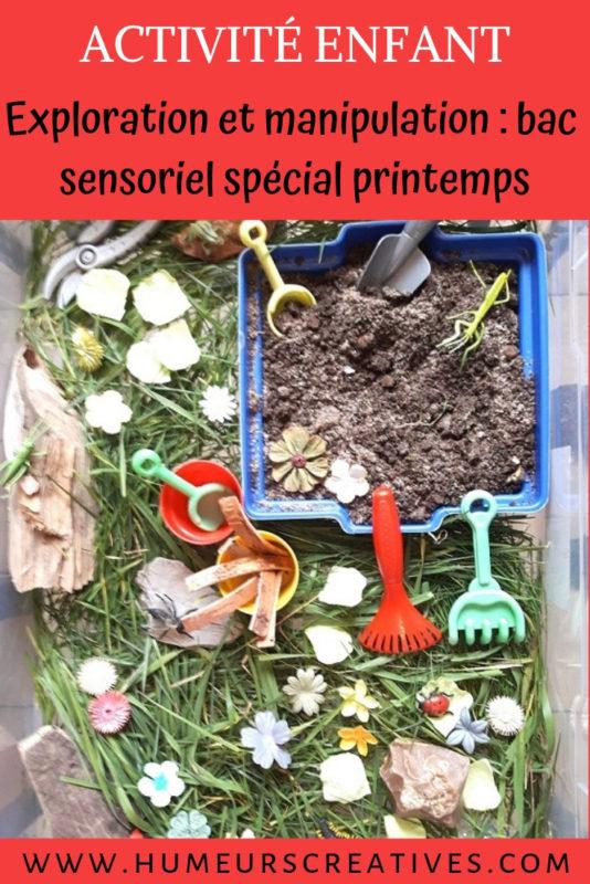 bac sensoriel pour enfants sur le printemps