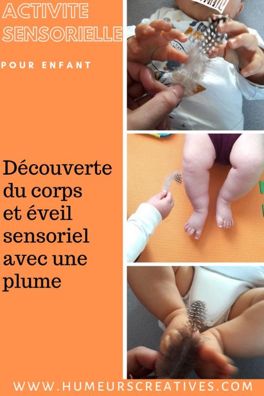Eveil sensoriel bébé : découverte du corps avec une plume