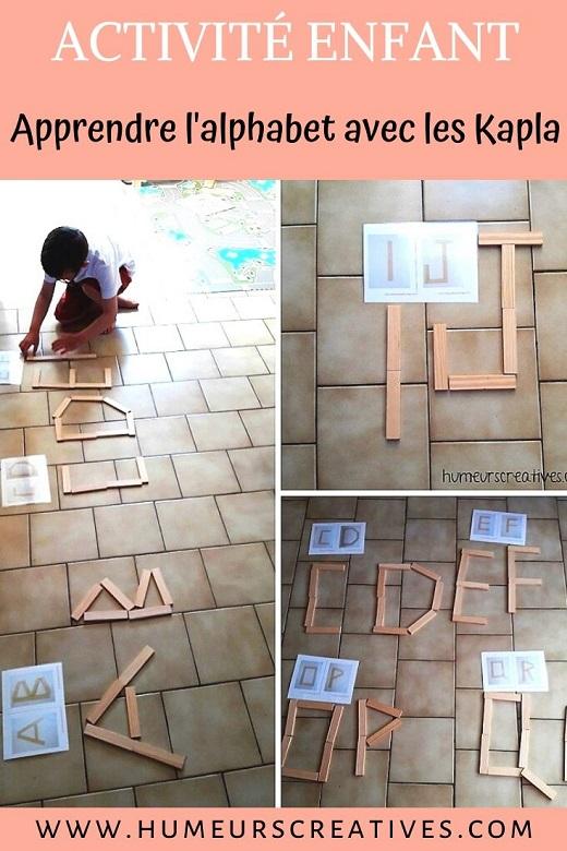 Activité pour enfant : reproduire les lettres de l'alphabet avec des kapla