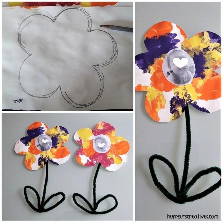 réalisation d'une fleur avec photo de l'enfant