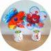 Bricolage pour la fete des mamans : un pot en pâte autodurcissante et une fleur fabriqué par les enfants