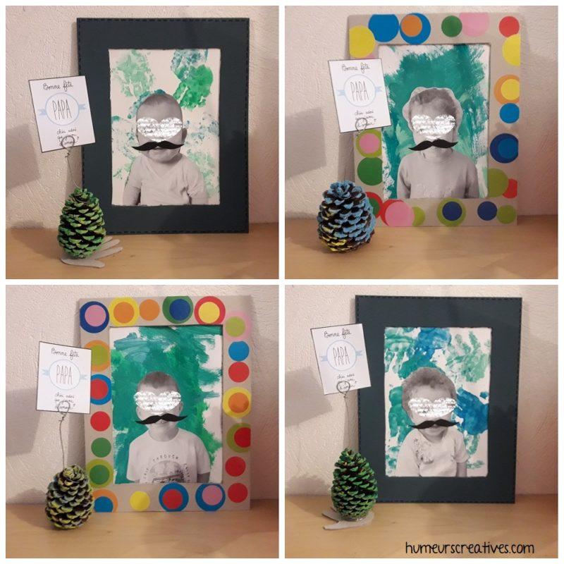 cadre moustache et porte photo pomme de pin pour la fête des pères