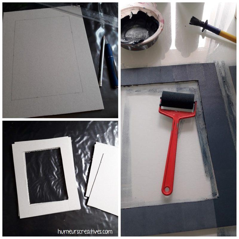 réaliser le cadre en carton et le peindre