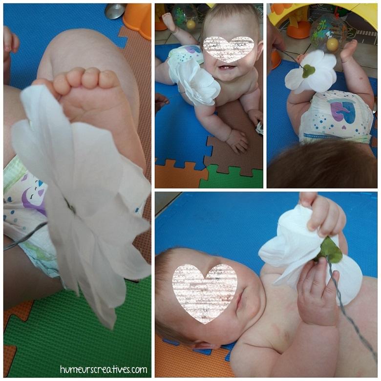 activité sensoriel bébé : caresse avec une fleur
