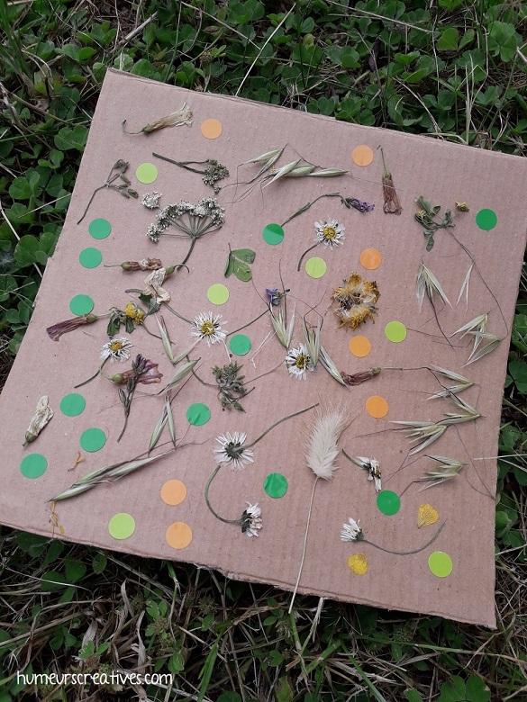 tableau champêtre réalisé avec des fleurs
