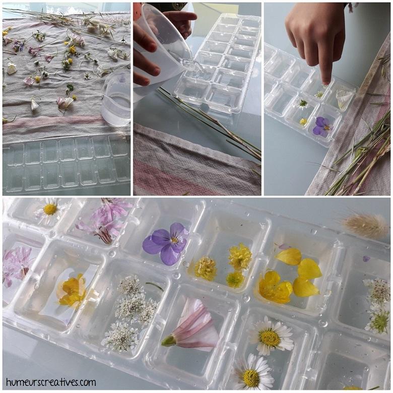 préparation des fleurs à mettre dans le bac à glaçons