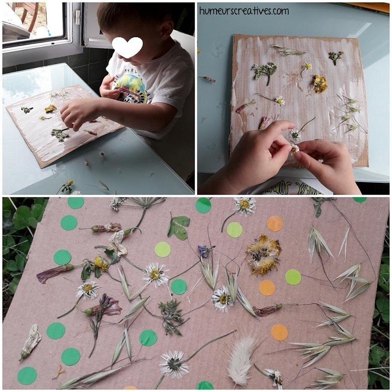 collage de fleurs sur un tableau