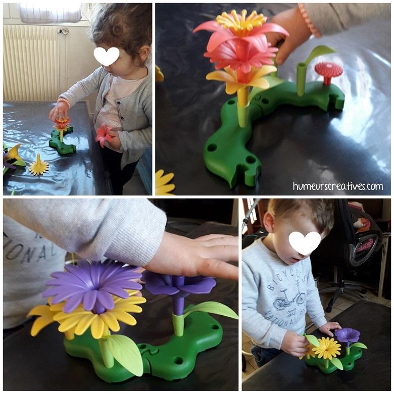 jeu ludique pour enfants : encastrer pour réaliser des bouquets de fleurs