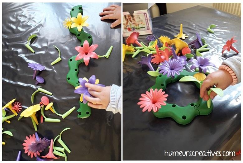 jeu pour enfants : développer sa motricité fine en créant des bouquets de fleurs