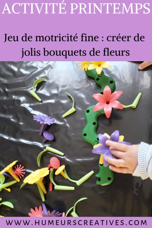 jeu ludique pour enfants : fabriquer des bouquets de fleurs. Permet de développer la motricité fine et la créativité des enfants