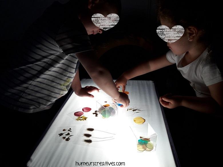manipulation sur la table lumineuse