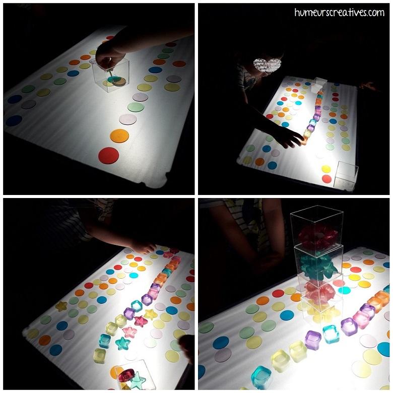 activité table lumineuse : on créé des lignes avec les jetons