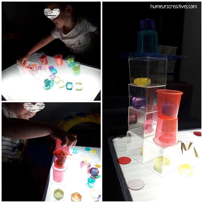 transvasement et superposition sur la table lumineuse