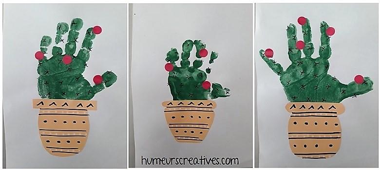 nos cactus en empreintes de mains
