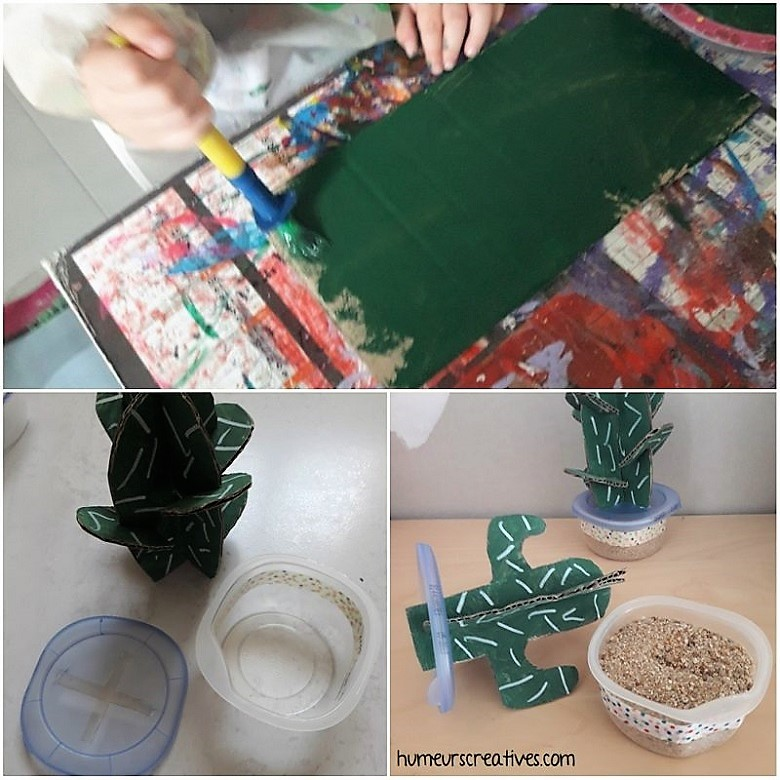 réalisation des cactus en carton et en peinture