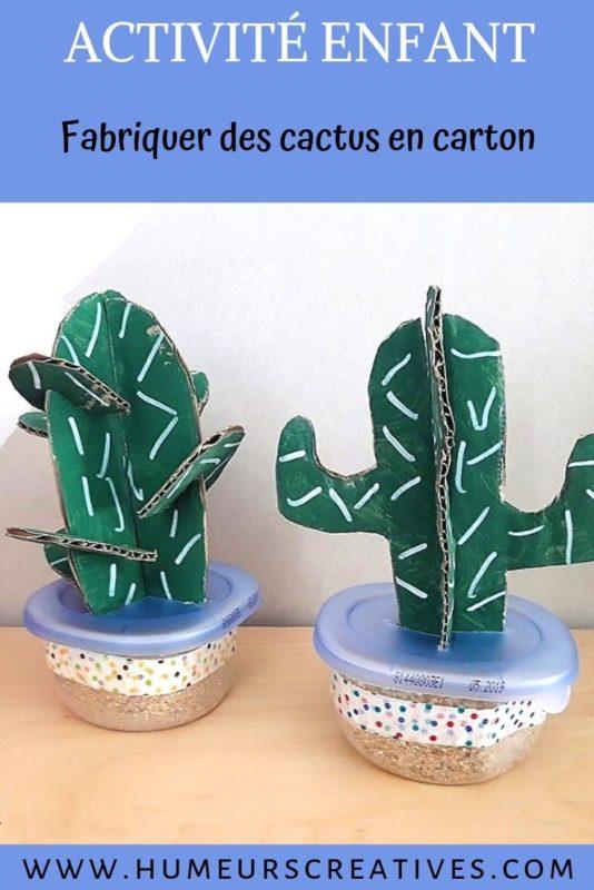 bricolage pour enfant :réaliser un cactus en carton et en peinture