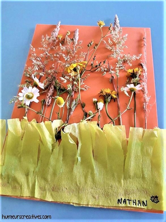 tableau fleurie réalisé avec un enfant
