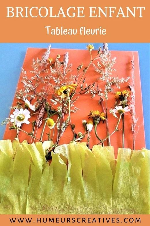 Bricolage nature pour enfants : tableau champêtre à faire avec des fleurs