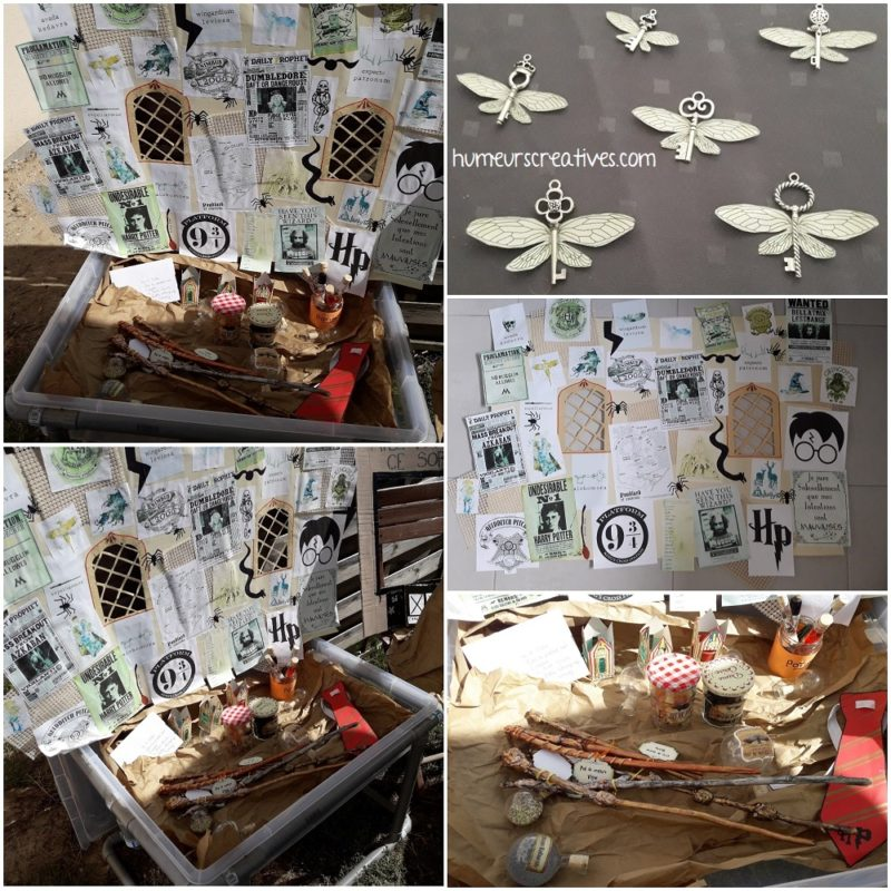 idée de décoration faciles pour un anniversaire harry potter. Baguettes magiques, clés volantes, affiches, potions