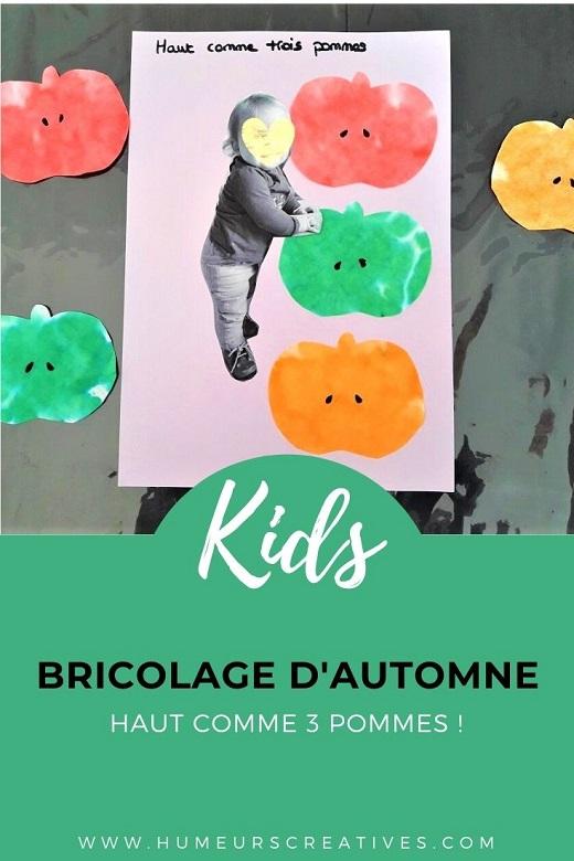 Bricolage d'automne pour enfants: haut comme 3 pommes