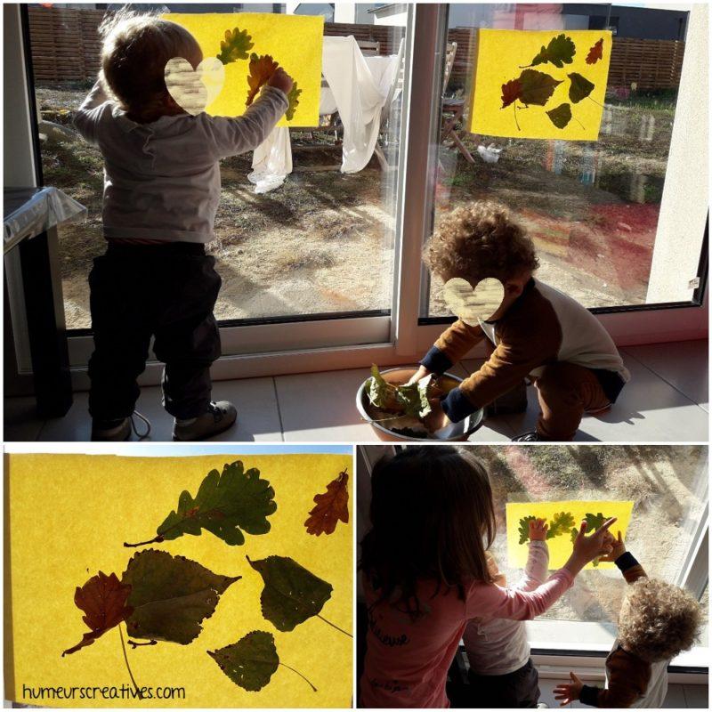 collage des feuilles d'automne sur le papier autocollant installé sur la fenêtre