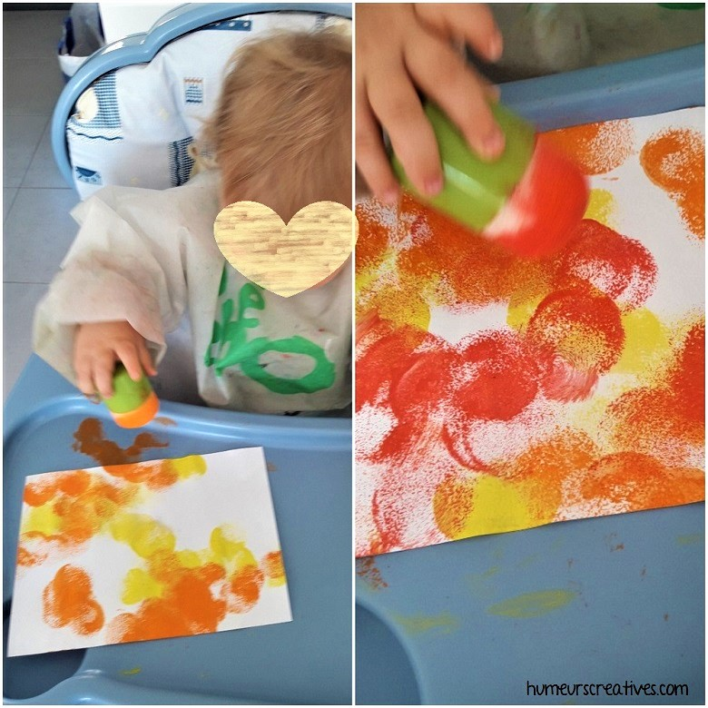 peinture avec des tampons mousse